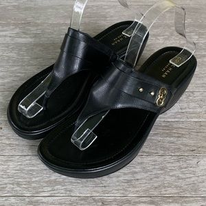 Cole Haan Margate Wedge II Black Leather Sandals